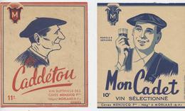 Morlaas, Caves Menjucq, 2 étiquettes Vin, Mon Cadet, Caddétou, Illustrateur Gabard,basque , Béret - Étiquettes De Forme Insolite