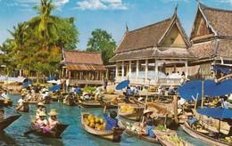 Postcard Floating Market Wat Sai Thonburi Near Bangkok Thailand My Ref  B13038 - Thailand