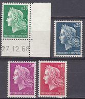 FRANCE - 1967/1969 - Serie Completa Di 4 Valori Nuovi MNH: Yvert 1535/1536B Comprendente 1536A Con Coin Daté. - 1967-70 Marianna Di Cheffer