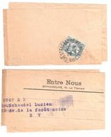 Starsbourg Bas Rhin Bande De Journal ENTRE NOUS 1 C Blanc Ardoise Type 2 Yv 107 Ob 1928 - 1900-29 Blanc