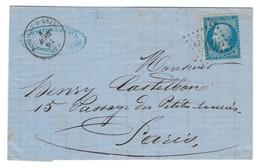 1864 Romilly-sur-Seine To Paris - Marcophilie (Lettres)