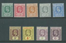 Sierra Leone 1907 KEVII New Colours Part Set Of 9 -> 6d Fine Mint - Sierra Leone (...-1960)