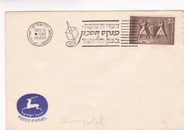 AHORRO POSTAL- ENVELOPPE OBLITEREE 1954 JERUSALEM ISRAEL - BLEUP - Israel