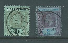 Sierra Leone 1907 KEVII New Colours 1/- & 2 Shilling Values FU - Sierra Leone (...-1960)
