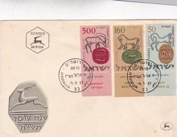ENVELOPPE FDC 1957 JERUSALEM ISRAEL - BLEUP - FDC