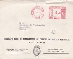 SINDICATO UNICO DE TRABAJADORES DE EDIFICIO DE RENTA Y HORIZONTAL- CIRCULEE 1973 BUENOS AIRES AFFRANCHISSEMENT.. - BLEUP - Argentine