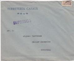 FERRETERIA CASALS-REUS- ENVELOPPE SPAGNE SPAIN ESPAÑA CIRCA 1940s  - BLEUP - 1931-50 Lettres