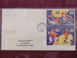 USA 1993 FDC Cover Washington - Circus - Set - Lettres & Documents