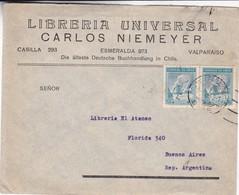 LIBRERIA UNIVERSAL CARLOS NIEMEYER-ENVELOPPE CIRCULEE 1942 CHILE TO ARGENTINE STAMP A PAIR - BLEUP - Chili