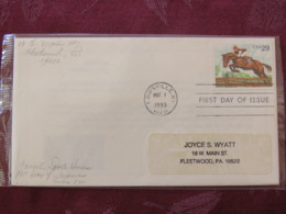 USA 1993 FDC Cover Louisville - Sporting Horses - Steeplechase - Lettres & Documents