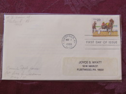 USA 1993 FDC Cover Louisville - Sporting Horses - Harness Racing - Lettres & Documents