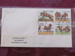 USA 1993 FDC Cover Louisville - Sporting Horses - Set - Lettres & Documents