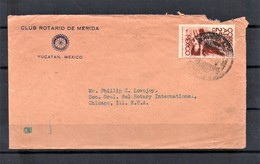 MEXICO 1945 Airmail Cover From Yucatan To Chicago USA Franked 45c Symbol Of Flight Man With Wings - Mexique