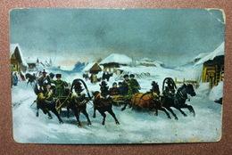 Antique Tsarist Russia Postcard 1909 GRUZINSKY. Russian Maslenitsa Troika Horse Sledding - Illustrateurs & Photographes