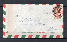 MEXICO 1945 Airmail Cover From Yucatan To Chicago USA Franked 25c Symbol Of Flight Man With Wings 2 - Mexique