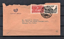 MEXICO 1945 Airmail Cover From Yucatan To Chicago USA Franked 20c Eagle Warrior & 5c Aztec Symbol Of Air Service - Mexique