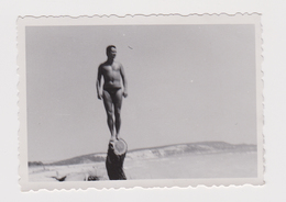 #54548 Vintage Orig Photo Muscular Man Swimmer Beach Pose Unfocused Portrait - Personnes Anonymes