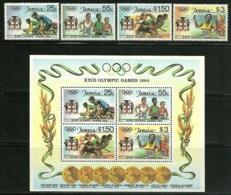 """Jamaica      """"1984 Olumpic Games """"     Set  & Souvenir Sheet    SC# 577-80a     MNH - Jamaica (1962-...)"""