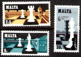 Chess Pieces, Chess Olympiad, Valletta, 1980, Malta Stamp SC#577-579 MNH Set - Malte