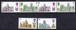 GB GREAT BRITAIN - 1969 BRITISH ARCHITECTURE CATHEDRALS SET (6V) FINE MNH ** SG 796-801 - 1952-.... (Elizabeth II)