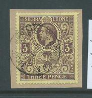 Sierra Leone 1912 - 1916 KGV & Elephant 3d FU On Piece , Segbwema Cds - Sierra Leone (...-1960)
