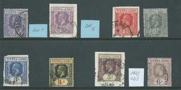 Sierra Leone KGV 1921 - 1928 Group Of 8 To 6d Used , 4 On Piece - Sierra Leone (...-1960)