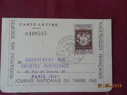 Carte Lettre De 1944 ( Journée Du Timbre) à Destination De Paris - Marcophilie (Lettres)