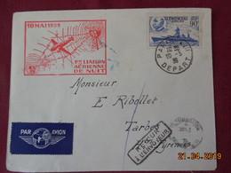 Lettre De 1939 à Destination De Tarbes ( 1ere Liaison Aérienne De Nuit) - Postmark Collection (Covers)
