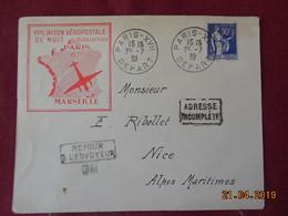 Lettre De 1939 à Destination De Nice ( 1ere Liaison Aérienne De Nuit) - Postmark Collection (Covers)