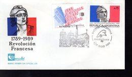 """"""" NOTRE DAME DE PARIS / 200 ANS DE LA REVOLUTION FRANCAISE """" Sur Enveloppe 1er Jour De 1989 D'Argentine. Parf état. FDC - French Revolution"""