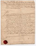 Manuscrit Certificat Signature Le Duc De Saint Saind Aignan Pair De France Chevallier 1666 1 Page Cachet Cire - Manuscrits