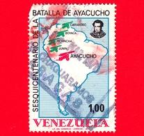 VENEZUELA - Usato - 1974 - 150 Anni Della Battaglia Di Ayacucho - Mappa - 1.00 - Vedi... - Venezuela