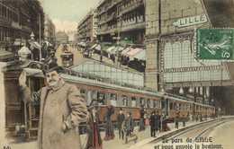 Fantaisie Je Pars De LILLE Et Vous Envoie Le Bonjour Gare Train Rue De Lille Colorisée - Lille