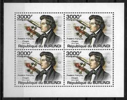 BURUNDI  Feuillet   N° 1276 * *  Musique Compositeurs  Chopin - Musique