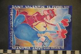 """CP, SALON DRAGUIGNAN """"LA SAINT VALENTIN"""" - ILLUSTRATEUR GASTON TOURAINE , Chats - Altre Illustrazioni"""