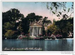 ROMA:   LAGO  E  TEMPIETTO  DELLA  VILLA  BORGHESE  -  FOTO  COLORATA  A  MANO  -  FG - Parks & Gardens
