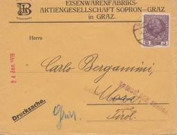 Österreich: 1916: Drucksache Von Graz Nach Tirol: Kriegslage -zurück Postsperre - 1850-1918 Imperium