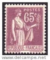 France Type Paix N°  284 ** De La 2ème Série, Le 65c Violet-brun - 1932-39 Paix