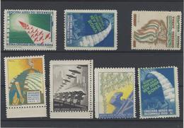 Italia Regno ,Posta Aerea ,Crociera Del Decenale ,7 Vignette Chiudilettera ,splendidi - 1900-44 Vittorio Emanuele III