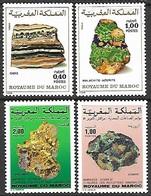 Morocco   1981   Sc#477-8  & 1987 Sc#648-9  Minerals Sets  MNH  2016 Scott Value $5 - Maroc (1956-...)