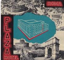SUPERBE ETIQUETTE D'HOTEL ,,,,,hotel PLAZA à ROME - Advertising