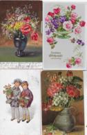 AK 0222  Blumen ( Künstlerkarten ) - Konvolut Von 4 Karten - Blumen