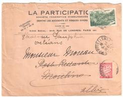 PARIS Lettre 2° Ech Entête Assurance 90c Iseran Yv 358 Ob 1938 Dest Poste Restante Moulins Réexpédié Orléans Taxe Yv 33 - France
