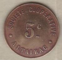 Jeton Colonial. Algérie - Alger. 5 Centimes Société Coopérative Altairac - Argelia