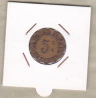 81. Tarn. Ville De Mazamet Alquier Frères. 5 Centimes 1917, En Laiton, Frappe Décalé. - Monétaires / De Nécessité