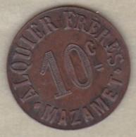 81. Tarn. Ville De Mazamet Alquier Frères. 10 Centimes 1917, En Cuivre Rond - Monétaires / De Nécessité