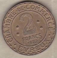 27. Eure. Chambre De Commerce Evreux 2 Francs 1922. Laiton - Monétaires / De Nécessité