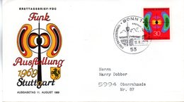 """BRD Schmuck-FDC: """"Nationale Funkausstellung, Stuttgart"""", Mi.599 ESSt 11.8.1969 BONN 1 - BRD"""