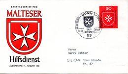 """BRD Schmuck-FDC: """"Malteser Hilfsdienst"""", Mi.600 ESSt 11.8.1969 BONN 1 - BRD"""