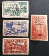 Marruecos: Año. 1942 - Protectorado Frances. Ttipos De 1939 - 1940 Sobrecarga Infancia. - Maroc (1956-...)